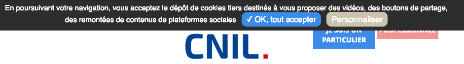 capture d'écran du bandeau de cookies de la CNIL non conforme à la RGPD