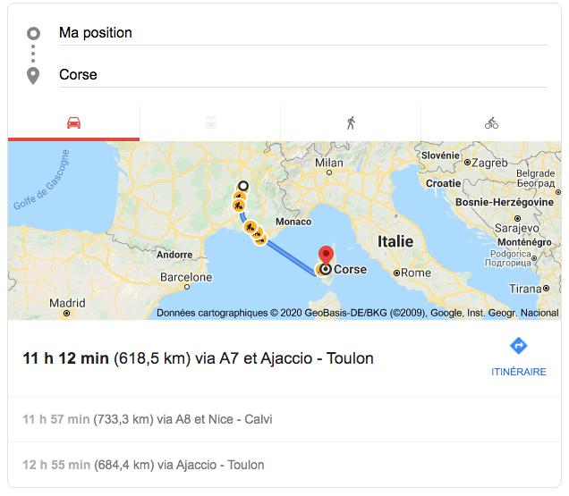 Photo affichage recherche voyage en Corse Google
